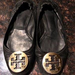 Tory Burch Black Leather Reva Flat w/Gold